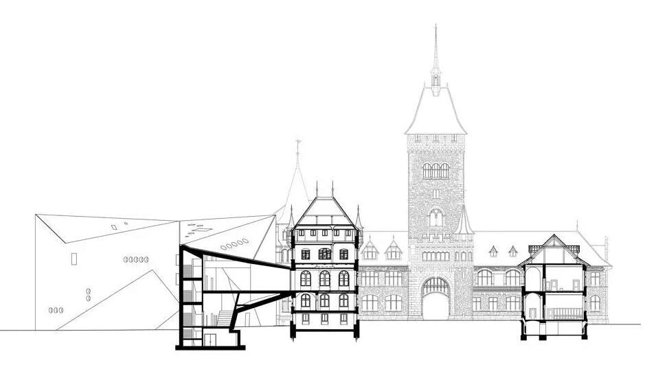 改造之后两个建筑体量通过地下美术馆相连,在恩特林登广场两端对望。中世纪的修道院包括了一个教堂、一个聚落、一个喷泉和一座位于一边上的花园。广场的另一边的新博物馆建筑和教堂的体量相等,并与曾经的浴室一同围合了另一座封闭庭院。  CKK Jordanki音乐厅 Fernando Menis  在每一处风景中,投射理智与情感。
